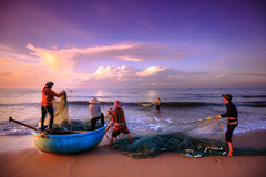 Visserij voor een nieuwe dag Stock Foto