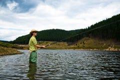 Visserij voor vrouw Stock Fotografie