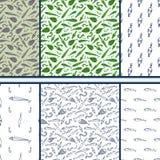 Visserijkrabbel - reeks vector naadloze patronen vector illustratie
