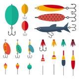 Visserijreeks toebehoren voor spinnen die met crankbaitlokmiddelen en twisters en zachte plastic aas visserijvlotter vissen stock illustratie