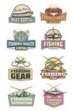 Visserijtoestel retro de pictogrammenstaaf en vissen van de visserijclub stock illustratie
