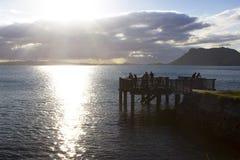 Vissers bij een pier Stock Afbeelding