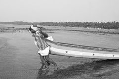 Vissers bij Gorai-Strand, Mumbai Stock Fotografie