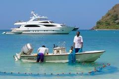 Vissers in Caraïbische Tortola, Stock Foto's