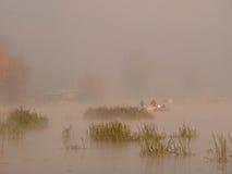 Vissers in de mist Royalty-vrije Stock Foto