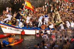 Vissers en Virgen del Carmen stock fotografie