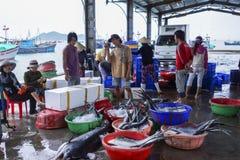 Vissers en vrouwen die vissen sorteren bij de haven Royalty-vrije Stock Afbeeldingen
