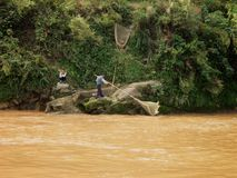 Vissers langs de Rivier Yangtze Royalty-vrije Stock Foto