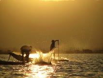 Vissers - Meer Inle - Myanmar Stock Afbeeldingen
