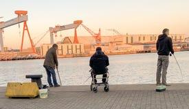 vissers op de Oostzee in Kiel, Duitsland royalty-vrije stock afbeeldingen