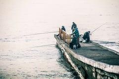 Vissers op de Zwarte Zee royalty-vrije stock foto's