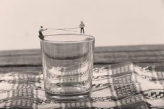 Vissers op een glas water Royalty-vrije Stock Fotografie
