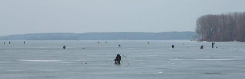 Vissers op het ijs Royalty-vrije Stock Fotografie