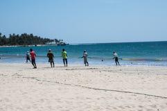 Vissers op het strand Royalty-vrije Stock Fotografie
