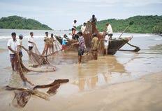 Vissers op strand Palolem Royalty-vrije Stock Fotografie