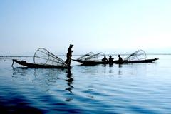 Vissers op water Stock Foto