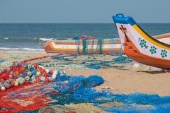 Vissers` s strand in Tamil Nadu stock foto