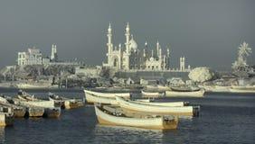 Vissers` s Werf in Kovalam: in de voorgrond heel wat houten boten in de grote moskee als achtergrond met minaretten en koepels en Royalty-vrije Stock Afbeelding