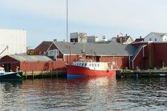 Vissersboot bij de haven van Gloucester, Massachusetts Royalty-vrije Stock Afbeeldingen