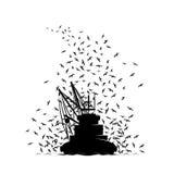 Vissersboot en de Zeemeeuwen stock illustratie