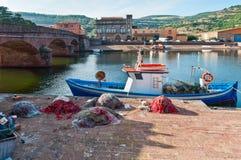 Vissersboot en netten Royalty-vrije Stock Fotografie