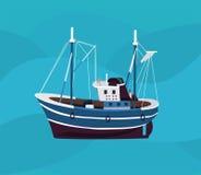 Vissersboot in het overzees Stock Afbeeldingen