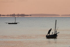 Vissersboot - Inhassoro - Mozambique stock fotografie