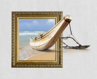 Vissersboot in kader met 3d effect Stock Fotografie