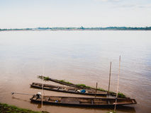 Vissersboot in Maekhong-rivier, Laos Royalty-vrije Stock Afbeelding