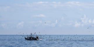 Vissersboot met Meeuwen in oceaan Stock Fotografie