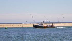 Vissersboot met zeemeeuwen Stock Foto's