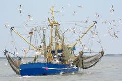 Vissersboot met zeemeeuwenNoordzee Stock Afbeelding