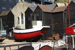 Vissersboot op Strand Royalty-vrije Stock Foto