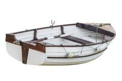 Vissersboot op witte achtergrond wordt geïsoleerd die Stock Fotografie