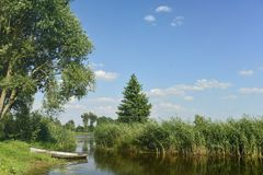 Vissersboot in rivierstruikgewas royalty-vrije stock fotografie