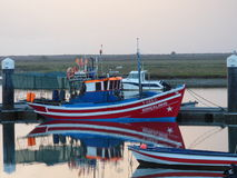 Vissersboot Santa Luzia Portugal Stock Foto's