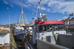 Vissersboten bij de pijler Royalty-vrije Stock Afbeelding