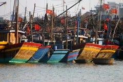 Vissersboten, Danang Vietnam Stock Foto's