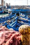 Vissersboten in de haven in Essaouira, Marokko Stock Fotografie