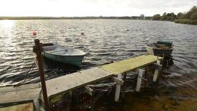 Vissersboten door de rivier stock video