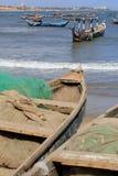 Vissersboten en netten Stock Fotografie
