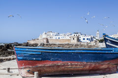 Vissersboten in Essaouira Stock Afbeelding