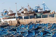 Vissersboten in Essaouira, Marokko. Stock Fotografie