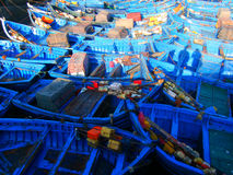 Vissersboten in Essaouira, Marokko Stock Afbeelding