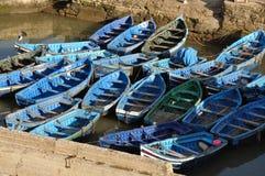 Vissersboten in Essaouria, Marokko Stock Foto's