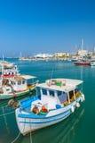 Vissersboten in Heraklion, Kreta, Griekenland Stock Afbeeldingen
