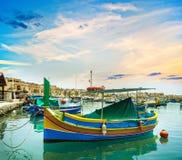 Vissersboten in Malta Stock Foto's