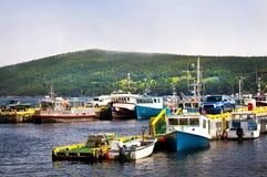 Vissersboten in Newfoundland stock afbeeldingen