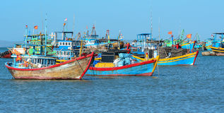 Vissersboten in Nha Trang, Vietnam Stock Foto