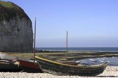 Vissersboten in Normandië Royalty-vrije Stock Foto's